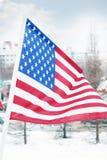 Flagga av Förenta staterna på vind på vintern Fotografering för Bildbyråer