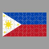 Flagga av Filippinerna från pussel på en grå bakgrund royaltyfri illustrationer