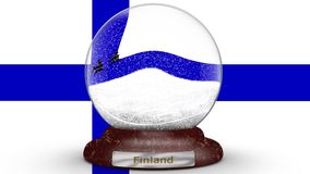 Flagga av Finland på snöjordklotet lager videofilmer
