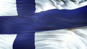 Flagga av Finland som vinkar på solen Sömlös ögla med högt detaljerad tygtextur Ögla som är klar i upplösning 4k arkivfilmer