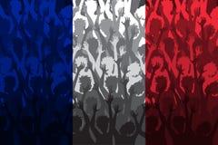 Flagga av Frankrike över stöttande fans Fotografering för Bildbyråer