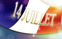 Flagga av Frankrike med fransk text, begrepp 14th juli Arkivfoto