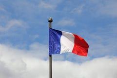 Flagga av Frankrike som vinkar i vinden Fotografering för Bildbyråer