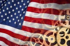 Flagga av Förenta staterna - industriell makt Royaltyfri Fotografi