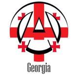 Flagga av Georgia av världen i form av ett tecken av anarki royaltyfri illustrationer