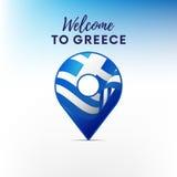 Flagga av Grekland i form av översiktspekaren greece som ska välkomnas också vektor för coreldrawillustration royaltyfri illustrationer