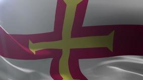 Flagga av Guernsey som vinkar på flaggstången i vinden, nationellt symbol av frihet stock illustrationer