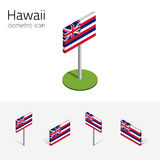 Flagga av Hawaii USA, isometriska plana symboler för vektor 3D stock illustrationer