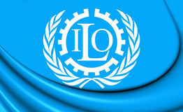 Flagga av ILO royaltyfri illustrationer