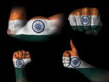 Flagga av Indien på kroppsdelar Royaltyfri Fotografi