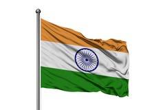 Flagga av Indien som vinkar i vinden, isolerad vit bakgrund Indier sjunker royaltyfri foto