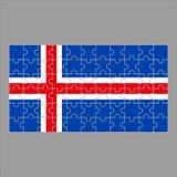 Flagga av Island från pussel på en grå bakgrund vektor illustrationer