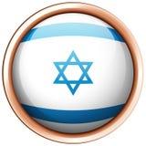 Flagga av Israel på runt emblem Arkivbild
