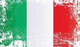 Flagga av Italien, italiensk republik Rynkiga smutsiga fläckar royaltyfri illustrationer