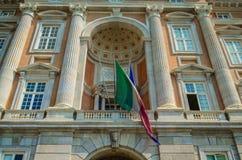 Flagga av Italien på kunglig slott av Caserta royaltyfri fotografi