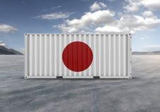 Flagga av Japan, behållare, i tolkningen 3D stock illustrationer