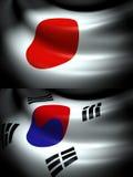 Flagga av Japan och Sydkorea Fotografering för Bildbyråer