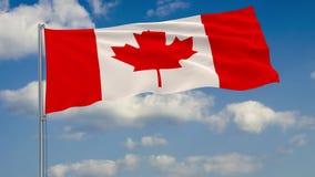 Flagga av Kanada mot bakgrund av moln vektor illustrationer