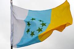 Flagga av kanariefågelöarna Arkivfoton