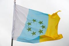 Flagga av kanariefågelöarna Royaltyfria Bilder