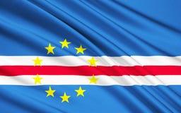 Flagga av Kap Verdeöar - republik av Cabo Verde stock illustrationer