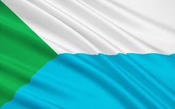 Flagga av Khabarovsk Krai, rysk federation Vektor Illustrationer