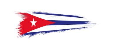 Flagga av Kuban i grungeborsteslaglängd royaltyfri illustrationer