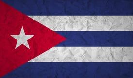 Flagga av Kuban med effekten av skrynkligt papper och grunge royaltyfri illustrationer
