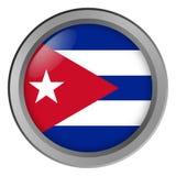 Flagga av Kuban som är rund som en knapp royaltyfri illustrationer