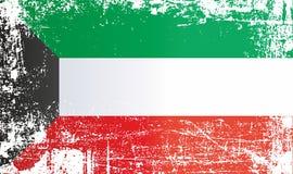 Flagga av Kuwait, rynkiga smutsiga fläckar stock illustrationer