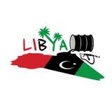 Flagga av Libyen och den olje- trumman Arkivbilder
