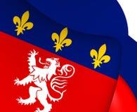 Flagga av Lyon, Frankrike vektor illustrationer