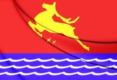 Flagga av Magadan, Ryssland stock illustrationer