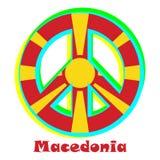 Flagga av Makedonien som ett tecken av pacifism royaltyfri illustrationer
