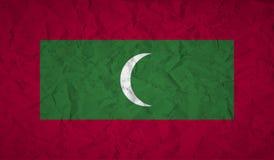 Flagga av Maldiverna med effekten av skrynkligt papper och grunge royaltyfri illustrationer