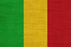 Flagga av Mali på gammal linne Arkivfoton