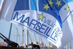 Flagga av marseille, Frankrike, 2013 Arkivbilder
