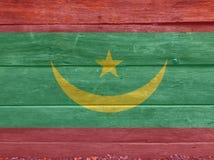 Flagga av Mauretanien på träväggbakgrund Textur för GrungeMauretanien flagga royaltyfri illustrationer