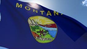 Flagga av Montana Waving i vinden arkivfilmer