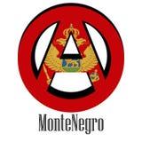 Flagga av Montenegro av världen i form av ett tecken av anarki stock illustrationer