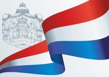 Flagga av Nederl?nderna Kungarike av Nederl?nderna Mall f?r utm?rkelsedesign, ett officiellt dokument med flaggan av Nederl?ndern royaltyfri illustrationer