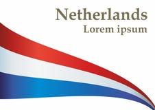 Flagga av Nederl?nderna Kungarike av Nederl?nderna Mall f?r utm?rkelsedesign, ett officiellt dokument med flaggan av Nederl?ndern vektor illustrationer