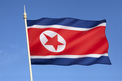 Flagga av Nordkorea Royaltyfria Foton
