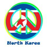 Flagga av Nordkorea som ett tecken av pacifism stock illustrationer