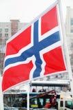 Flagga av Norge på vind på vintern Arkivbilder
