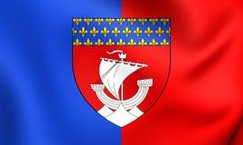 Flagga av Paris, Frankrike stock illustrationer