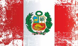 Flagga av Peru, republik av Peru, rynkiga smutsiga fläckar royaltyfri illustrationer