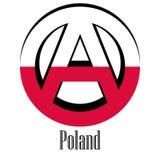 Flagga av Polen av världen i form av ett tecken av anarki stock illustrationer