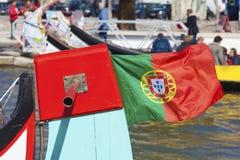 Flagga av Portugal i Aveiro Arkivbild