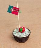 Flagga av Portugal på muffin Arkivbilder